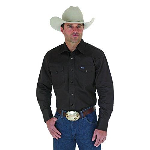 Wrangler Men's Big & Tall Western Work Shirt Firm Finish, Black 4X from Wrangler