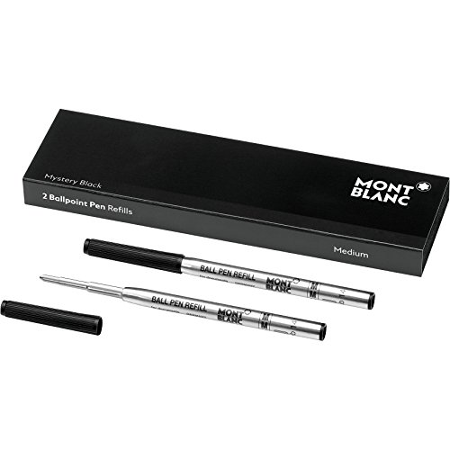 Montblanc Ballpoint Pen Refills (M) Mystery Black 116190 - Refill Cartridges with a Medium Tip for Montblanc Ball Pens - 2 x Black Ballpoint Refills