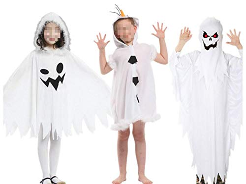 Hezon Happy Festival Creative Ghost Witch Hooded Cloak Children Costumes for Halloween Christmas (White) (Color : White, Size : Length 80cm)