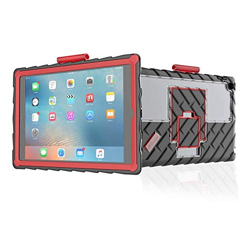 Gumdrop Hideaway Version 2 Case with Kickstand and Stylus Slot Designed for Apple iPad 9.7 (6th Gen and 5th Gen) Tablet for K-12 Students, Teachers, Kids - Black/Red, Rugged, Shock Absorbing