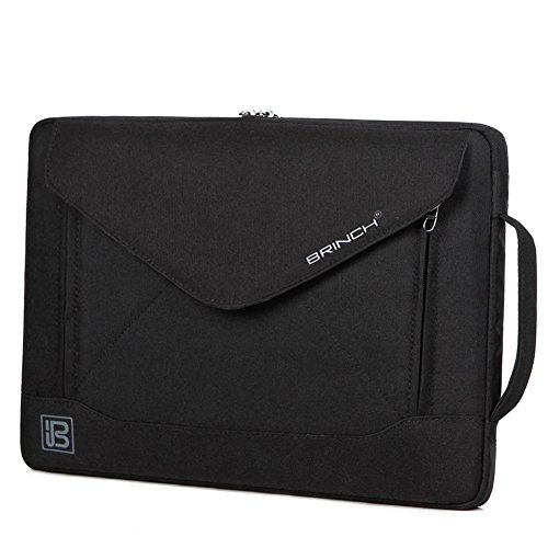 BRINCH® Envelope Nylon Fabric 10.1 / 14.1 / 15.6 Inch Laptop Bag Fashion Slim Carrying Envelope Case Cover Pouch Sleeve Handbag Shoulder Bag With Strap Pockets and Card Slots for iPad / Macbook / Laptop / Notebook / Ultrabook / Tablet / Netbook (15.6 Inch Black)