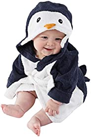 Toddler Baby Cartoon Animal Hoodie Bathrobe Cute Penguin Bathing Towel Infant Soft Flannel Pajamas Robe Poncho
