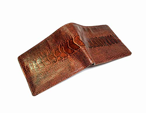 Genuine Ostrich Leg Skin Leather Man Bifold Wallet Reddish Brown