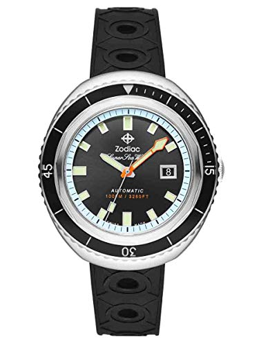 Zodiac Men's Super Seawolf 68 Extreme Stainless Steel Swiss-Automatic Watch with Rubber Strap, Black, 20 (Model: ()