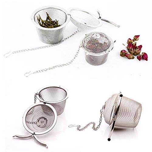 SISHUINIANHUA 4 Size Stainless Steel Tea Strainer Infuser Tea Locking Ball Tea Spice Mesh Herbal Ball Cooking Tools,XXL by SISHUINIANHUA
