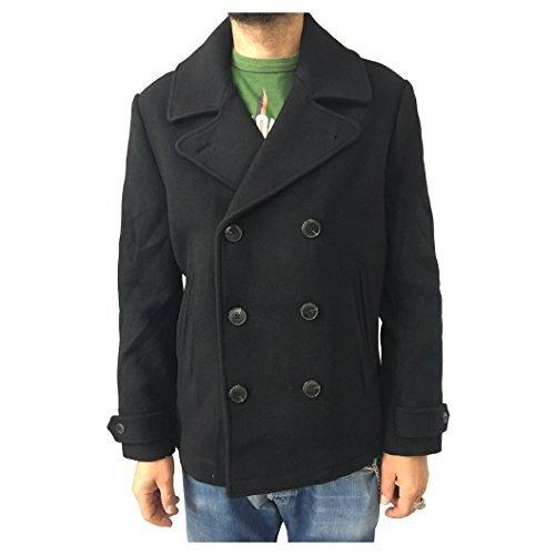 LEE chaqueta de hombre negro doble botonadura mod L89OAV01 PREMIUM lana PEACOAT 75% lana: Amazon.es: Ropa y accesorios