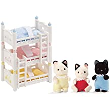 Calico Critters Tuxedo Cat Triplets and Triple Baby Bunk Beds