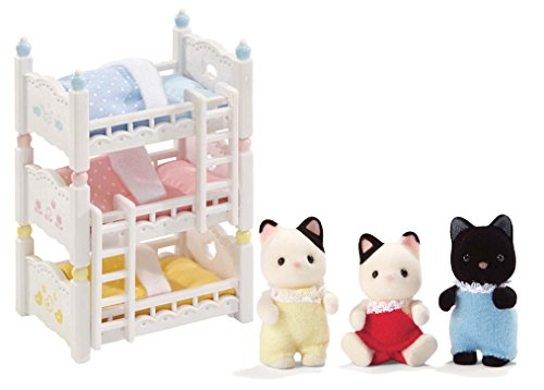 Calico Critters Tuxedo Cat Triplets and Triple Baby Bunk - Set Bed Inspired Bunk