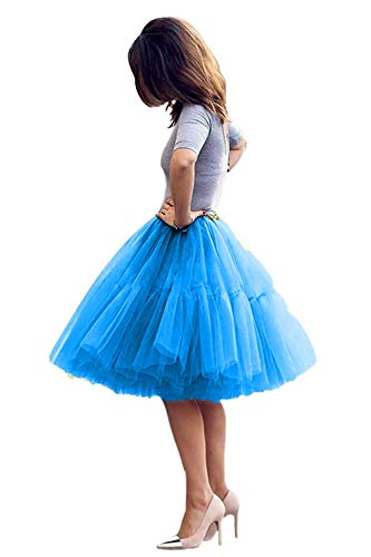 - Tulle Skirt,Women's Midi Tulle Tutu Skirt Fluffy Princess Five Layers A line Party Prom Underskirt (Blue, Waist:95cm-125cm)