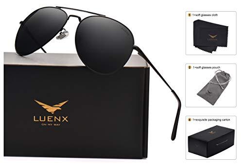 2b1b41525aa LUENX Aviator Sunglasses Men Women Polarized Case - UV 400 Non-Mirror Black  Lens Metal