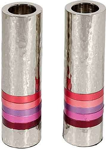 Yair Emanuel - Hammered Nickel Cylinder Candlesticks - Shades of Pink and Red Rings - Shabbat and Yom Tov (CSO-3)