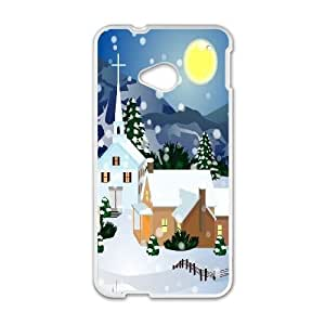 HTC One M7 Cell Phone Case White Holiday Town FY1559364