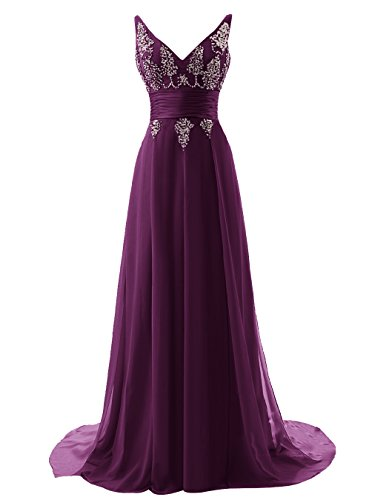 Tideclothes ALAGIRLS Long V Neck Prom Dress Chiffon Sequins Evening Dress Grape US8 ()
