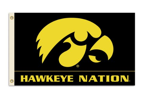 NCAA Iowa Hawkeyes 3-by-5 Foot Flag With Grommets Iowa Hawkeyes Tailgate