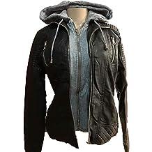 YMI New Outerwear Faux Leather Black Fur Lining Zipper Hoodie Jacket Coat-ML