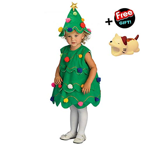 WEONEDREAM Toddler Kids Baby Girls 5T Christmas Tree Hairball Dress Party Costume Tops&Hat Outfit (120) -
