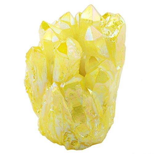 SUNYIK Lemon Yellow Titanium Coated Crystal Cluster,Quartz G
