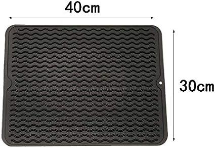 Fablcrew 1Pcs Tapis de S/échage Vaisselle Silicone Antid/érapant R/ésistant /à la Chaleur 40 30CM Gris