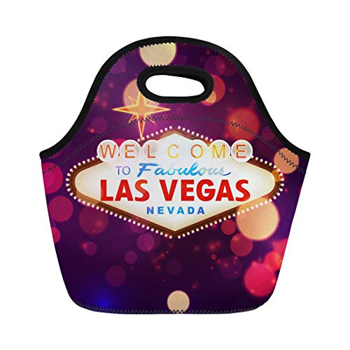 Semtomn Lunch Tote Bag Night Welcome to Las Vegas Sign Bokeh America Billboard Reusable Neoprene Insulated Thermal Outdoor Picnic Lunchbox for Men Women