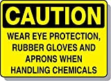 Beaed - Caution Wear Eye Protection, Rubber Glove, Apron - 100-0022-82S14