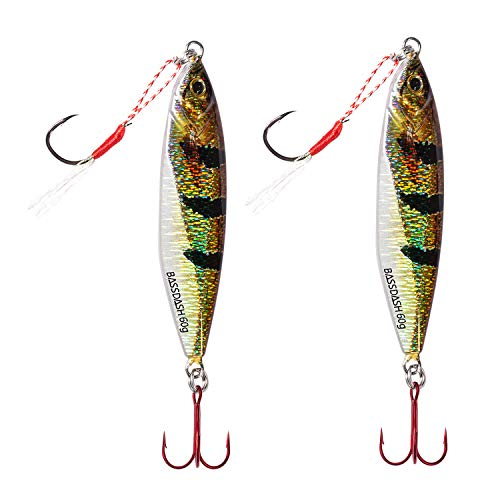 Bassdash Jig Jigging Lures Fishing with VMC Hooks Saltwater Freshwater Hooks Walleye Bass 20/30/40/60g, 2-Pack