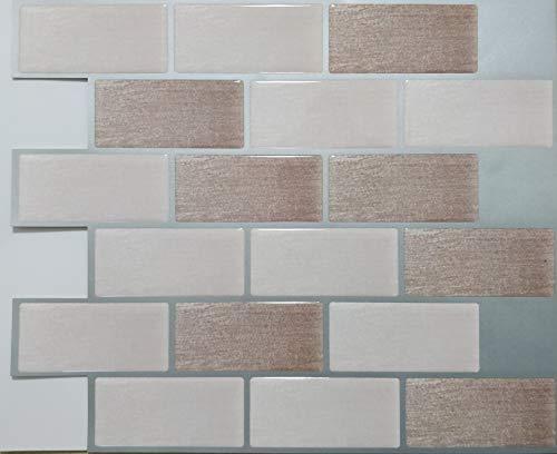 Bathroom Tile Backsplash (TZ Global Peel and Stick - Premium Self-Adhesive Peel Stick Wall Tile for Kitchen/Bathroom Backsplash in Brick Style (10