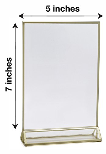 Super Star Quality Clear Acrylic Double Sided Frames Display Holder with Vertical Stand and 3mm Gold Border, 5 x 7-Inches (Pack of 6) by Super Star Quality (Image #1)
