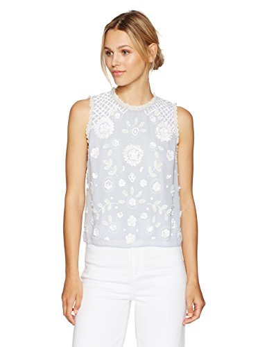 French Connection Women's Dalia Sheer Top, Salt Water/Summer White, 10 by French Connection