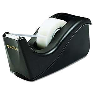 Scotch Value Desktop Tape Dispenser, 1 Inch Core, Two Tone Black (C60-BK)