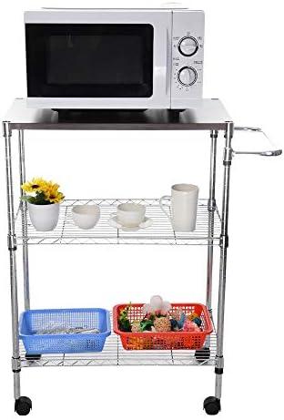 Amaping Multifunctional 3-Tier Kitchenware Utility Storage Shelf Cart Storage Rack Microwave Oven Kitchen Utensil Tableware Vegetable Grocery Holder Wheeled Trolley (Silver)
