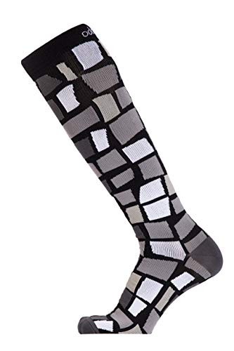 Odd Duck Compression Socks (15-20 mmHg) for Women and Men - for Everyday Flying, Running, Sitting, Standing, Jogging, Playing (Checkmate, Medium)