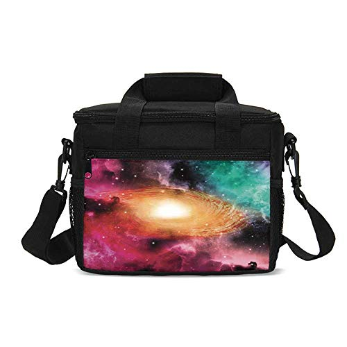 Science Room Decor Durable Lunch Bag,Colorful Astronomy Pictures Of A Spiral Galaxy Stars And Stardust for Picnic Travel,9.4