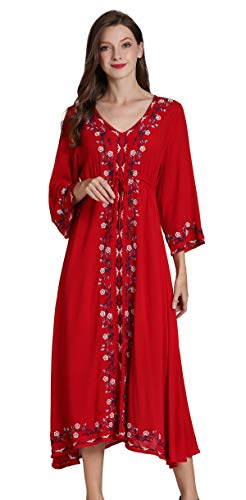 Shineflow Womens Casual 3/4 Sleeve Floral Embroidered Mexican Peasant Dressy Tops Blouses Shirt Dress Tunic (L, Red 2)
