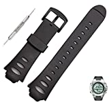 SUKEQ Silicone Rubber replacement Watch Band Strap and Spring Bar Removal Tool For SUUNTO OBSERVER SR X6HRM (Black)