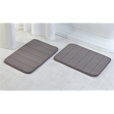 2 Pack - 17 x 24  Microfiber Memory Foam Bath Mat with Anti-Skid Bottom (Storm Grey)