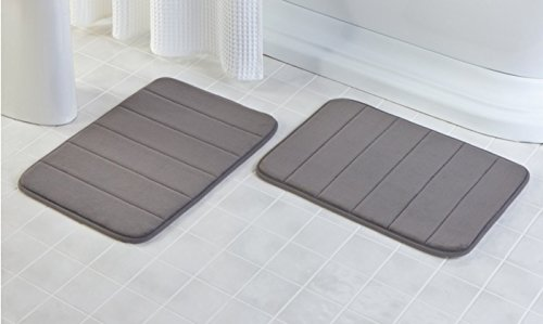 YunNasi 40 x 60 cm Memory Foam Baby Bath Mat Rug Set Non Slip, Pack of 2 piece (Storm grey) by YunNasi