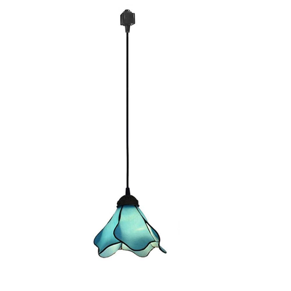 KIVEN H-Type Track Lighting Mediterranean Style PMMA Pendant Lamp Retro Lighting 3.3 ft Black Cord with Track Adapter, Bulb Sold Separately (Blue)