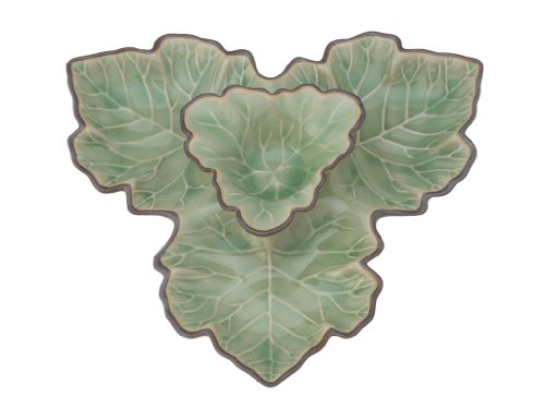 KOUBOO Authentic Celadon Serving Dish and Maple Leaf Dip Bowl, Green