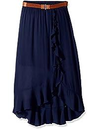 Big Girls' Ruffle Front Maxi Skirt With Belt