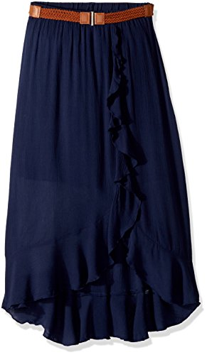 Amy Byer Belt (Amy Byer Big Girls' Ruffle Front Maxi Skirt With Belt, Navy, S)