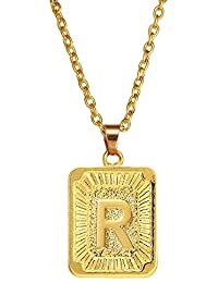 Initial Letter A-Z Square Pendant Gold Plated Charm Necklace for Women Mens Jewelry
