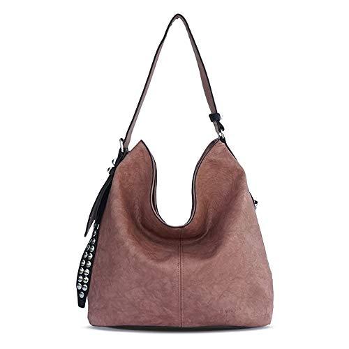 Crossbody Secchiello Rivetto Borse Bag Shopping Donne Femminile In Pelle Donna Messenger Purple green Grande Tote Casual Hobo Borsa Spalla Da Pu UT10n