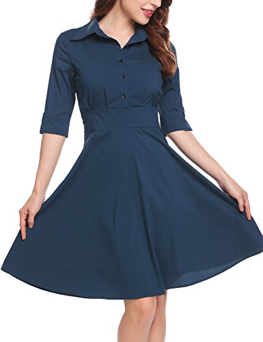 Zeagoo Women's 40s 50s Style Half Sleeve Rockabilly Picnic Swing Vintage Dress, Champlain, XX-Large