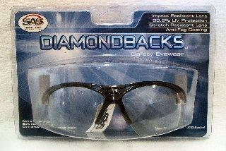 SAS Safety 540-0210 Diamondback Eyewear with Clamshell, Clear Lens/Black Frame
