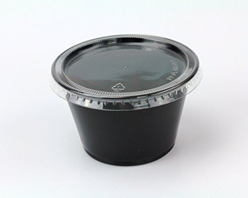 - Disposable 4oz Plastic Condiment Cups with Lids, Sample Cup, Jello Shot Cups, Salad Dressing, Souffle Portion, Sampling (200, Black)