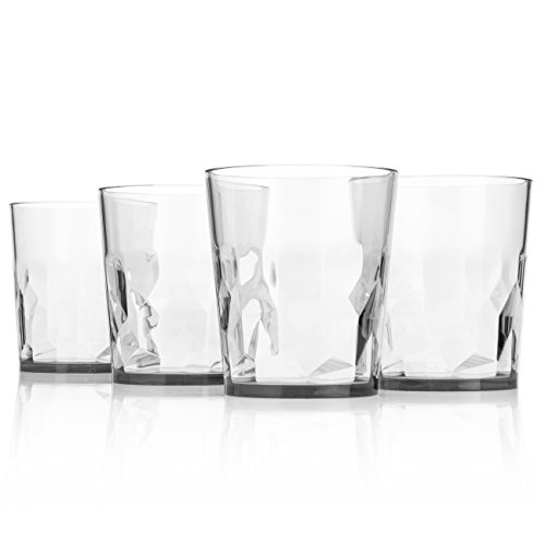 8 oz Premium Drinking Glasses - Set of 4 - Unbreakable Tritan Plastic - BPA Free - 100% Made in Japan (Crystal Footed Tumbler)
