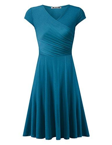 URBANCLEO Womens Cap Sleeve V Neck T-Shirt Tunic Mini Dress Teal - V-neck Sleeve T-shirt Cap