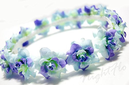 Turquoise Swirl Rose NightFlo with White LED(Light Up Flower Crown)