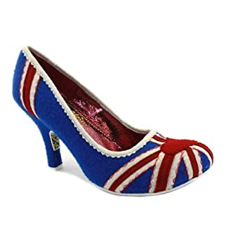 TRIWE0V2 Women Irregular Choice Womens Patty Floral Union Jack Shoes Navy Red 5 Online Store