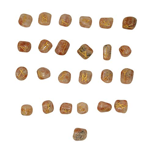 CRAFTSTRIBE Sun Stone Reiki Tumble Therapy Stones Natural Stones Rune Set Healing 25 Pc by CRAFTSTRIBE